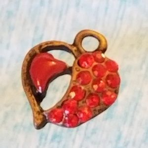 NWT Antiqued GLP Mini Heart Charm Red Glass Crystl